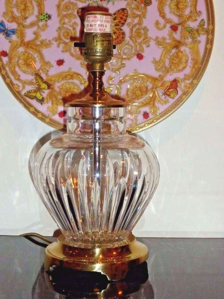 Waterford Crystal Carina Pattern Table Lamp With Brass Base
