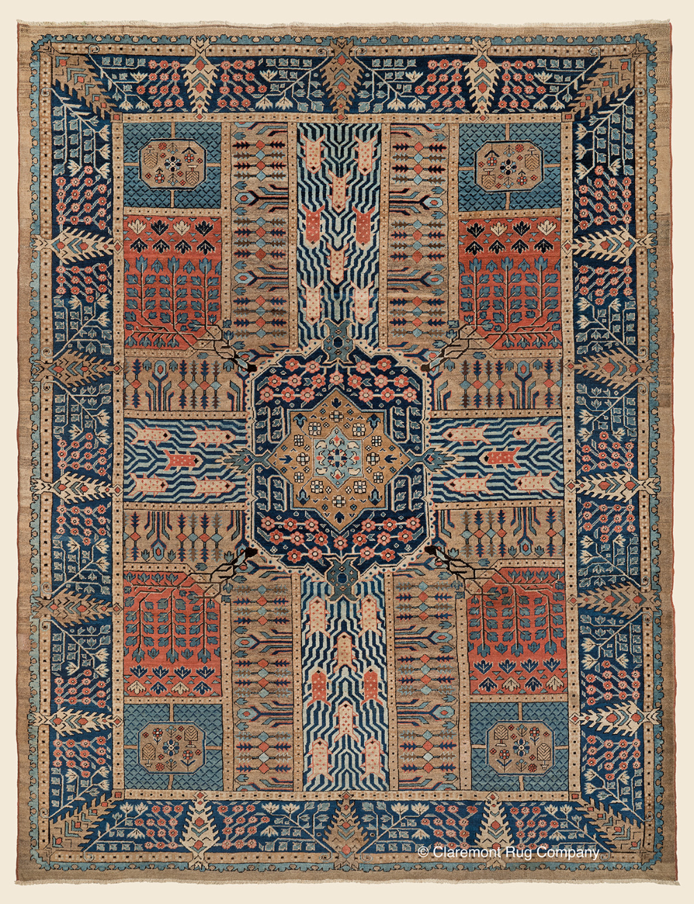 Sold Antique 19th Century Persian Bakshaish Garden Carpet Folk Art Collectible Geometric Room Size Antique Rug 8 In 2020 Claremont Rug Company Antique Rugs Rugs