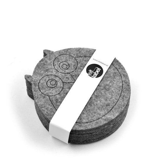 Felt coasters owl shape, six elements #feltcreations