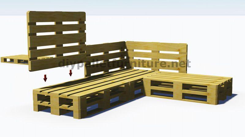 Instructions Et Plans 3d De La Facon De Faire Un Canape Pour Le Jardin Avec Des Palettes 5 Meubles De Patio Palette Meuble Palette Meubles En Bois De Palettes