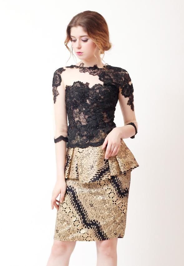 Set Premium Batik Kombinasi Atasan Brukat Dan Bawahan Batik Cocok