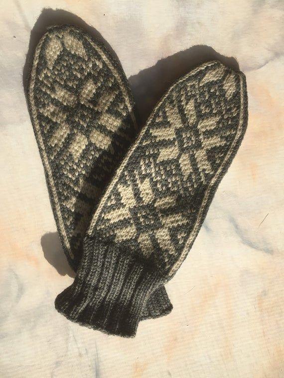 Vintage 40's Hand Knit Norwegian Fair Isle Mittens ...
