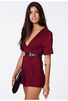 Katie Faux Suede Plunge Playsuit Oxblood