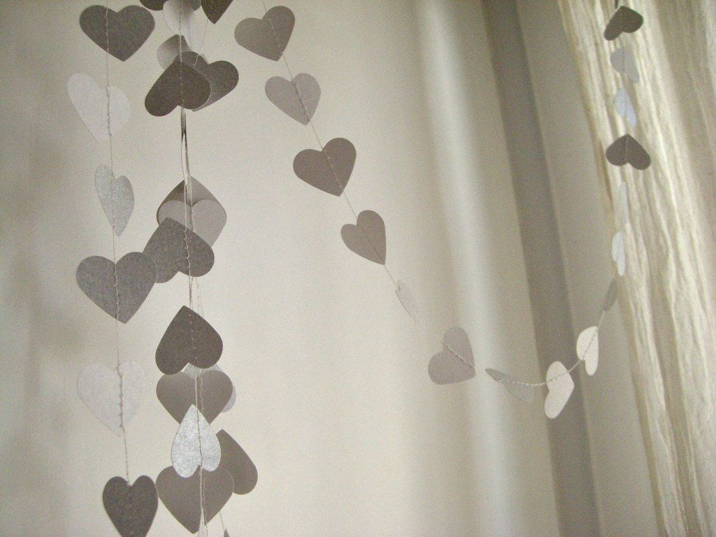 paper garland silver metallic hearts wedding decoration home decor kids room decor - Metallic Kids Room Interior