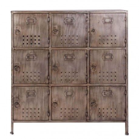meuble de rangement industriel en métal brossé vieilli gris 9