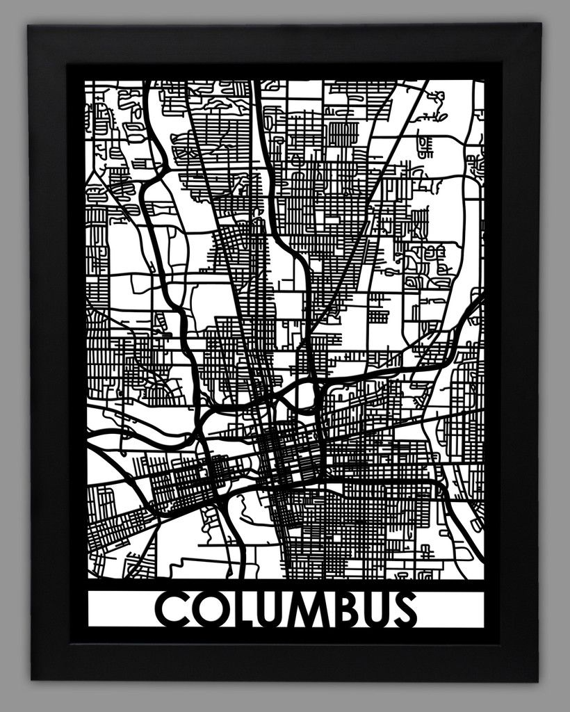 Columbus Columbus Map City Of Columbus Framed Maps