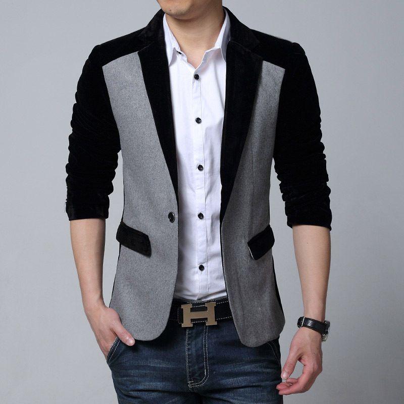 8d55443dbeeee Mens Black Blue Red Corduroy Blazer Jacket Men Korean Style Men s Fashion Suits  Slim Fit Velvet