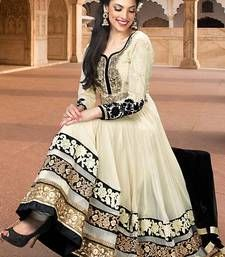 Buy Cream embroidered georgette semi stitched salwar with dupatta ...