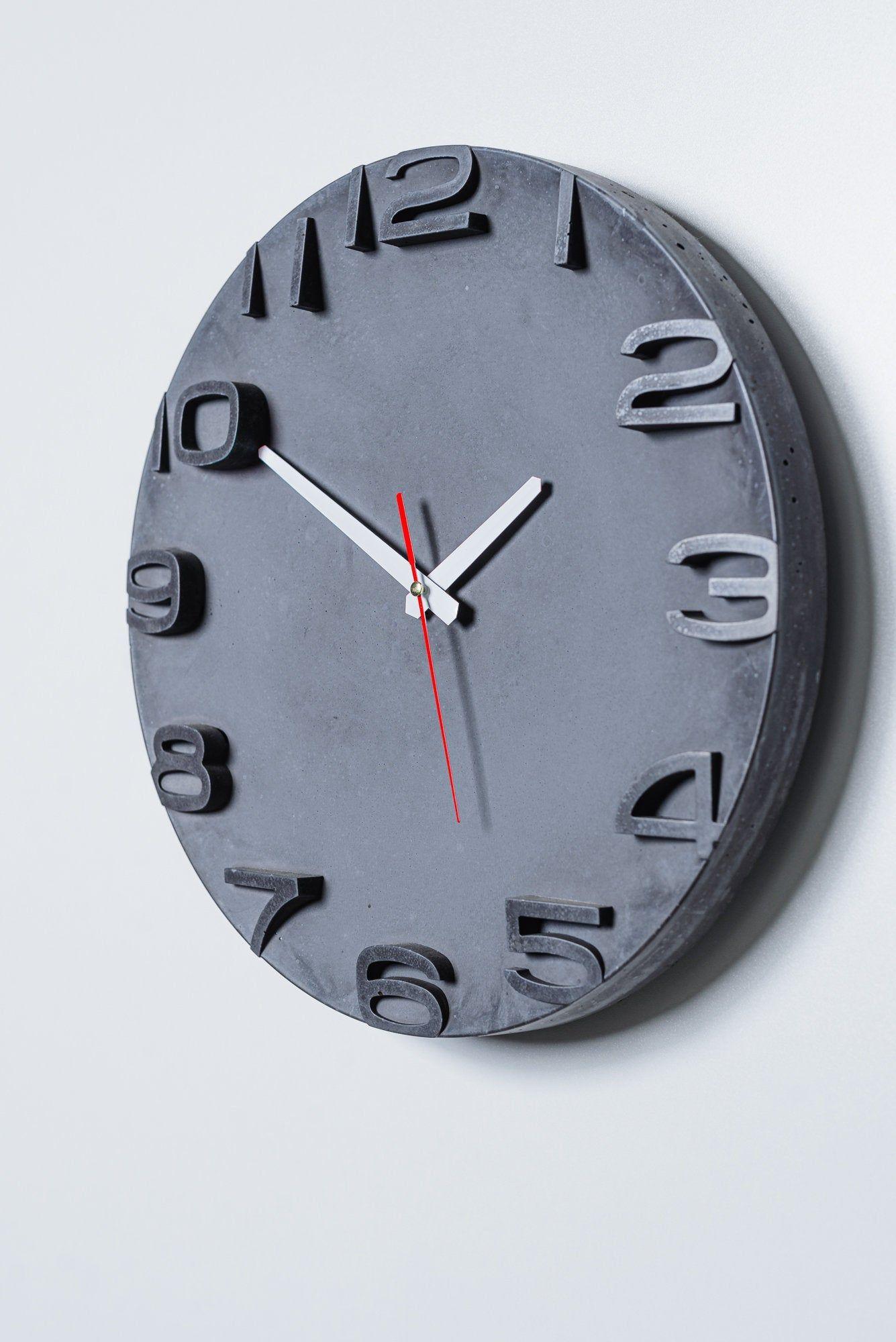 Modern Concrete Wall Clock Concrete Home Decor Industrial Wall Clock Modern Minimalist Decor In 2020 Industrial Clock Wall Wall Clock Modern Wall Clock