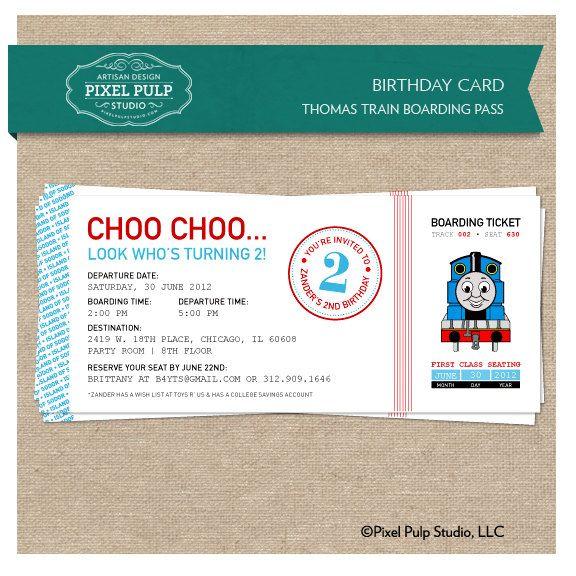 Birthday Invitation - Thomas Train Boarding Pass - Birthday Invite - best of invitation template boarding pass