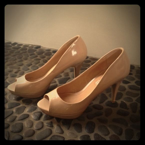 "Aldo patent leather peep toe Nude pump Worn a couple of times for weddings. Good condition. 4"" heel. ALDO Shoes"