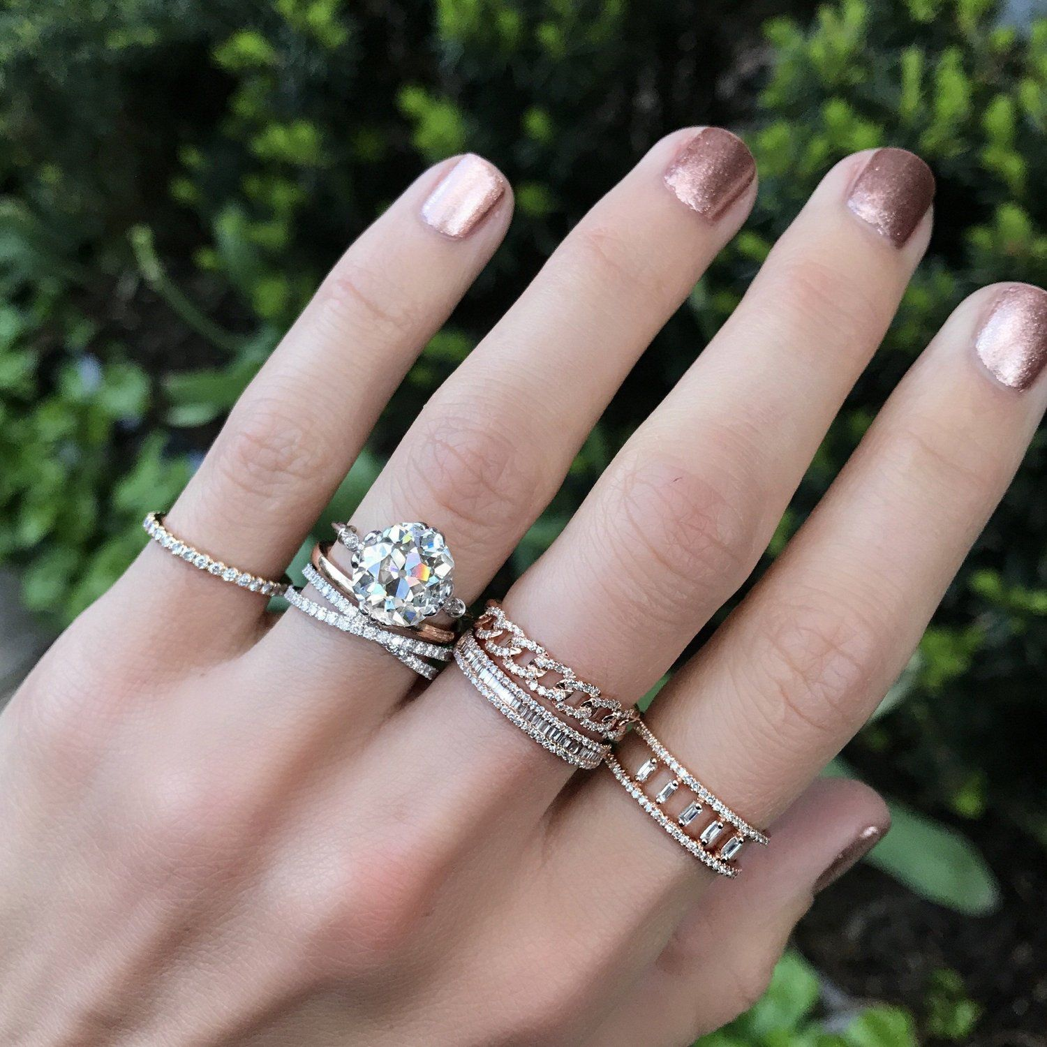 This crisscross diamond band is perfect for stacking and