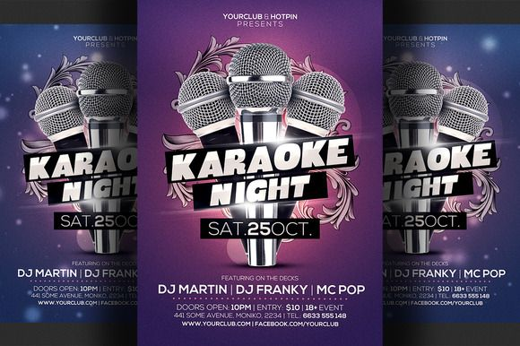Karaoke Night Flyer Template   Flyer Template Template And Print