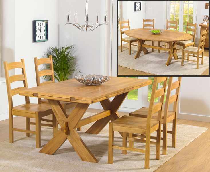 Bordeaux Oak All Sides Extending Dining Table And Vermont Chairs Cool Oak Dining Room Decorating Design