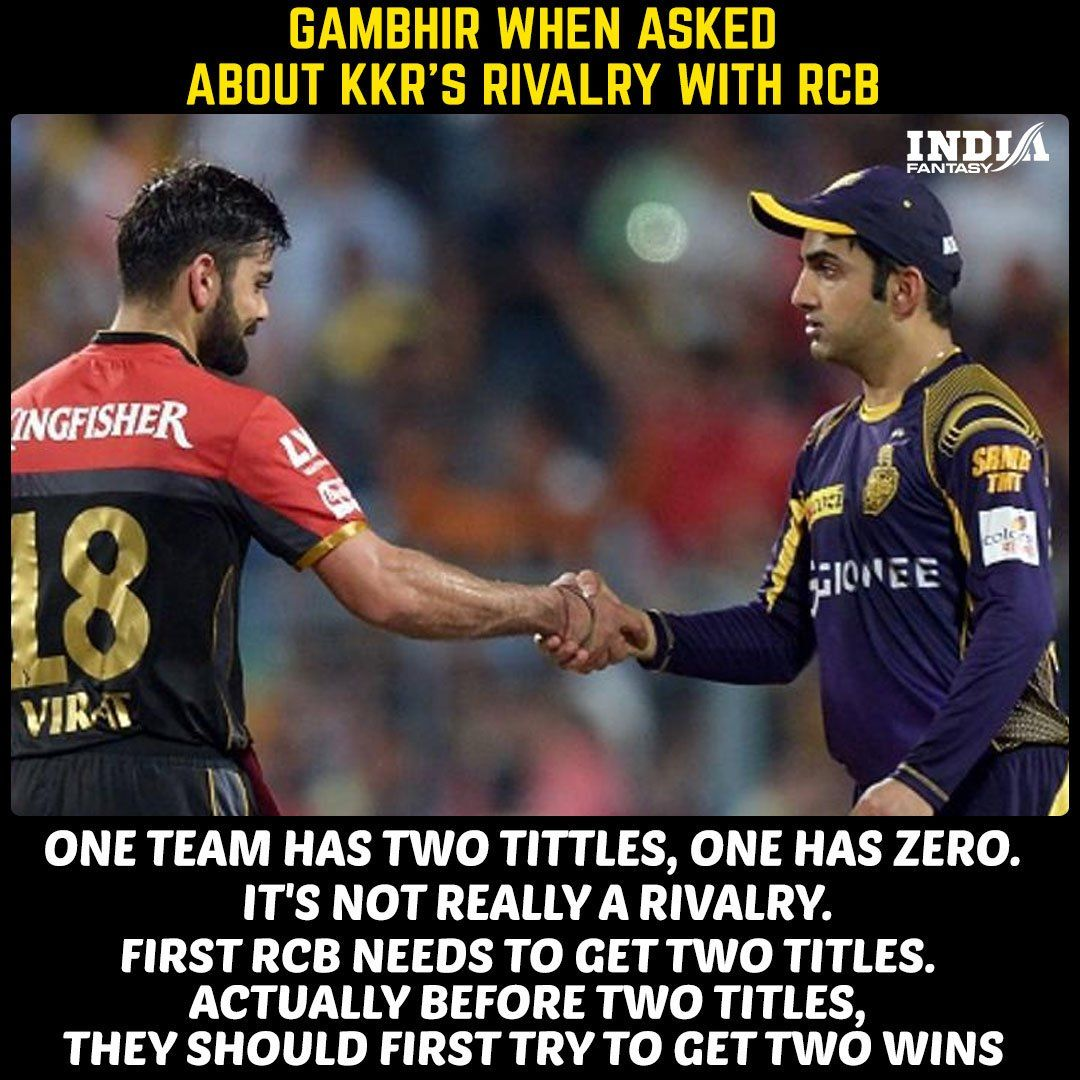 Kkr Rivalry With Rcb India Cricket Team Cricket Quotes Dhoni Quotes