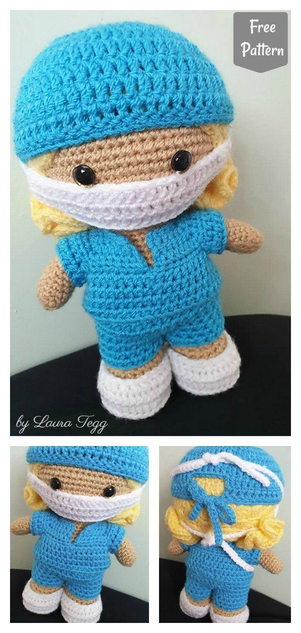 Doll with Face Mask Free Crochet Pattern