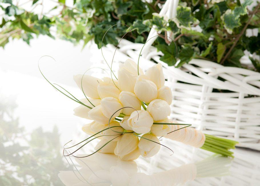 White Tulip Wedding Bouquets Simply In Cream Silk Bridal Bouquet