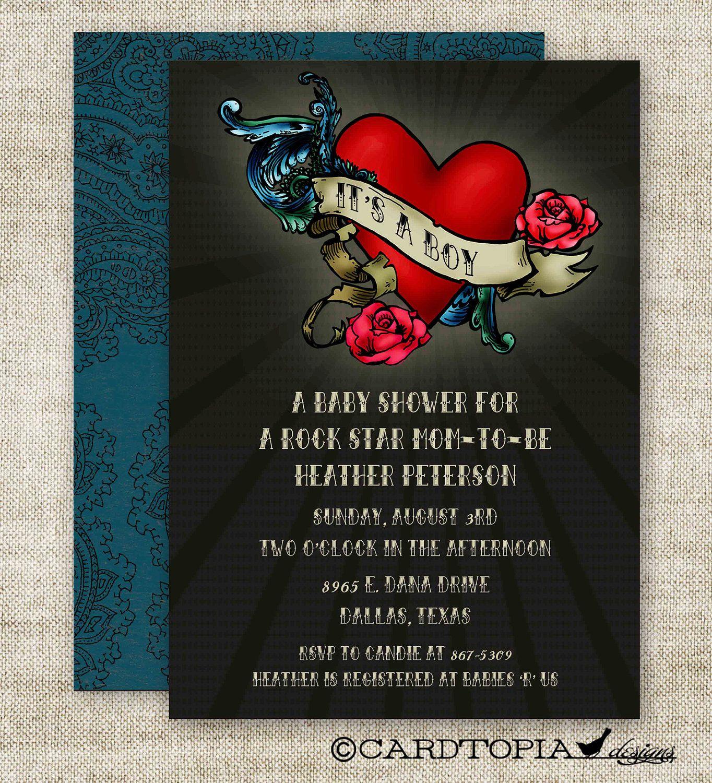 BOY BABY SHOWER Invitations Rock Star Mom Tattoo Glam Digital diy ...