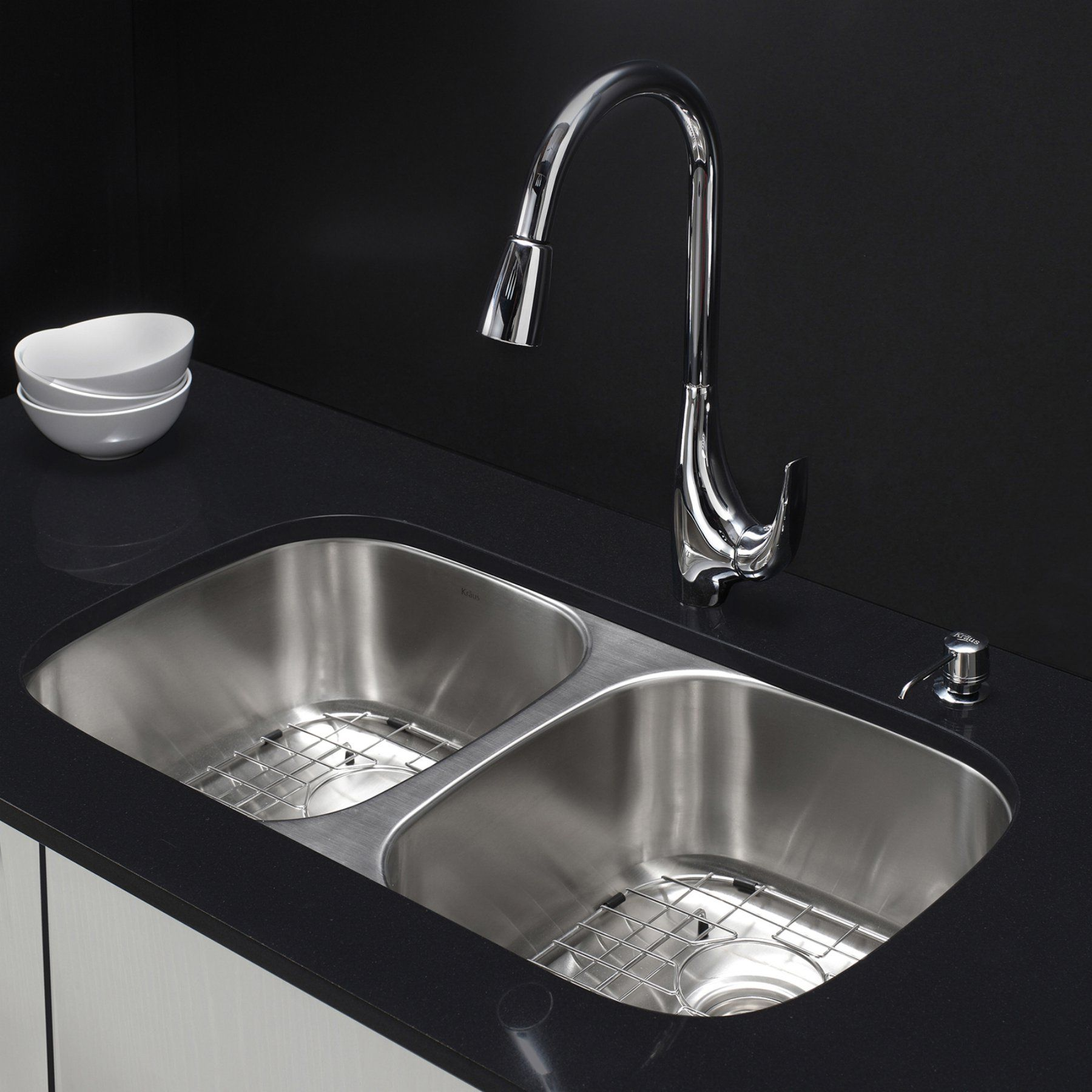 kraus kbu22 kpf1621 ksd30ch double basin undermount kitchen sink rh pinterest ch