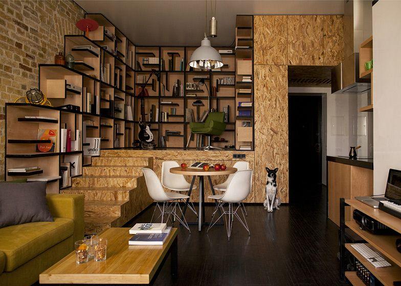 De Bibliotheek Kamer : Verhoogde bibliotheek van osb platen onderin is er bergruimte