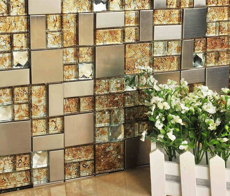 Orange crystal glass electrochapa azulejos de mosaico HMGM1105 ...
