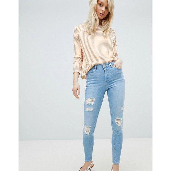 High Rise Distressed Skinny Jeans - Blue Miss Selfridge UGitY68Rj