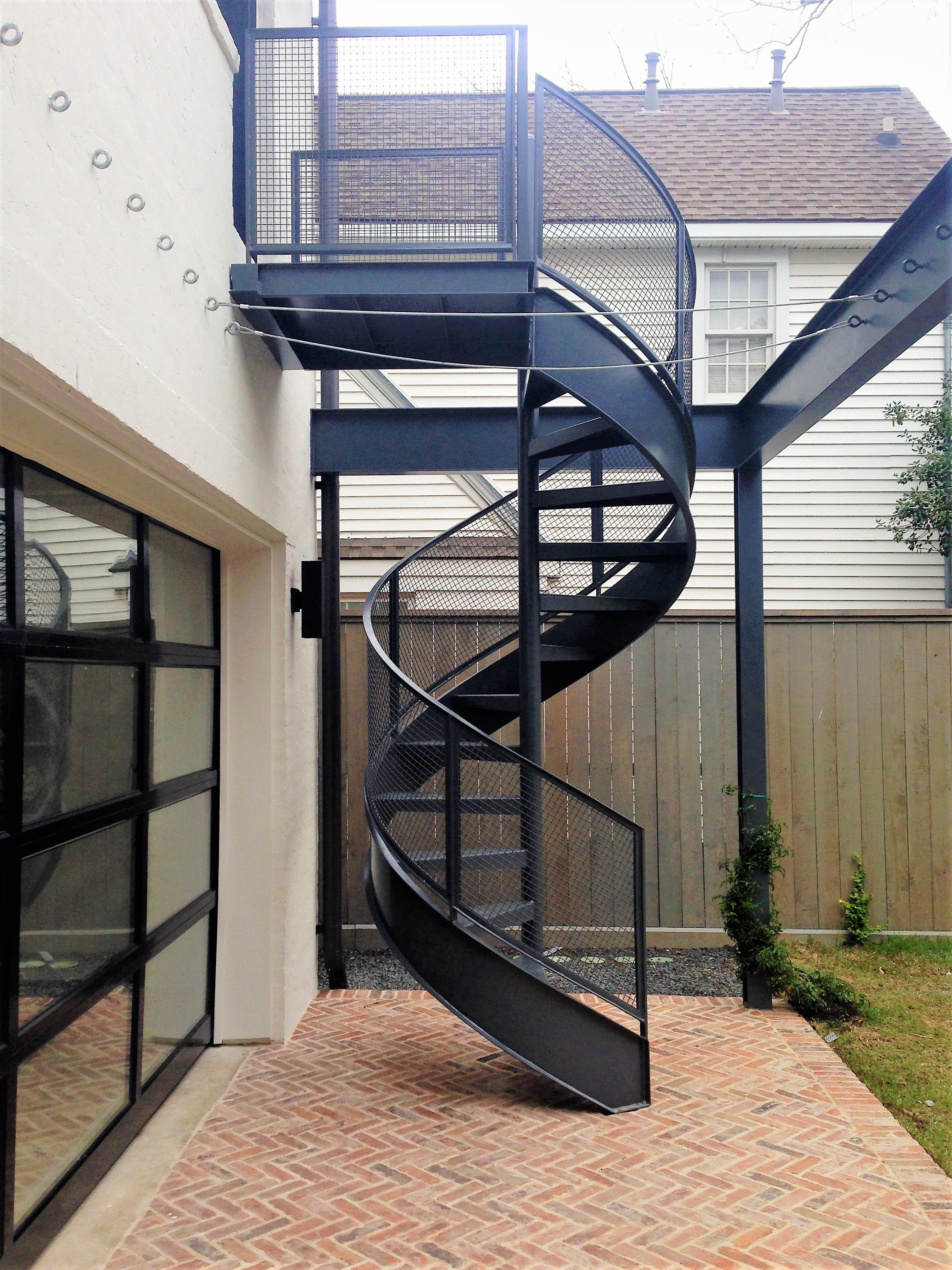 This Is An All Steel Code Compliant Spiral Stair Has A Flat Bar Handrail With Flat Bar Post Wi Spiral Staircase Outdoor Exterior Stairs Spiral Stairs Design