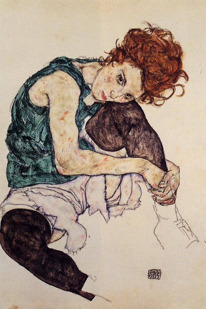 Seated Woman with Bent Knee by @engonschiele #expressionism