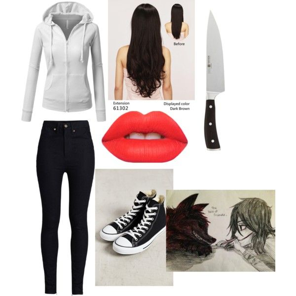 jeff the killer by thebrokendoll on Polyvore featuring polyvore fashion style J.TOMSON Rodarte Converse Lime Crime Wüsthof