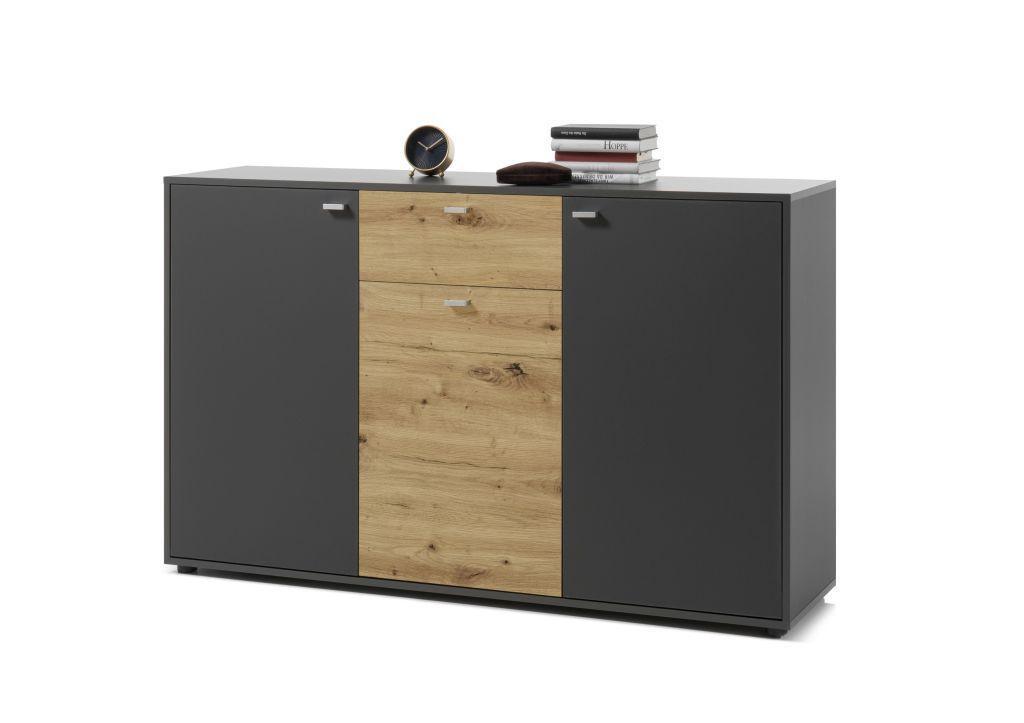 Sideboard Cleveland Grau Artisan Eiche Sb Mobel Discount Side Board Mobel Shop Schubkasten
