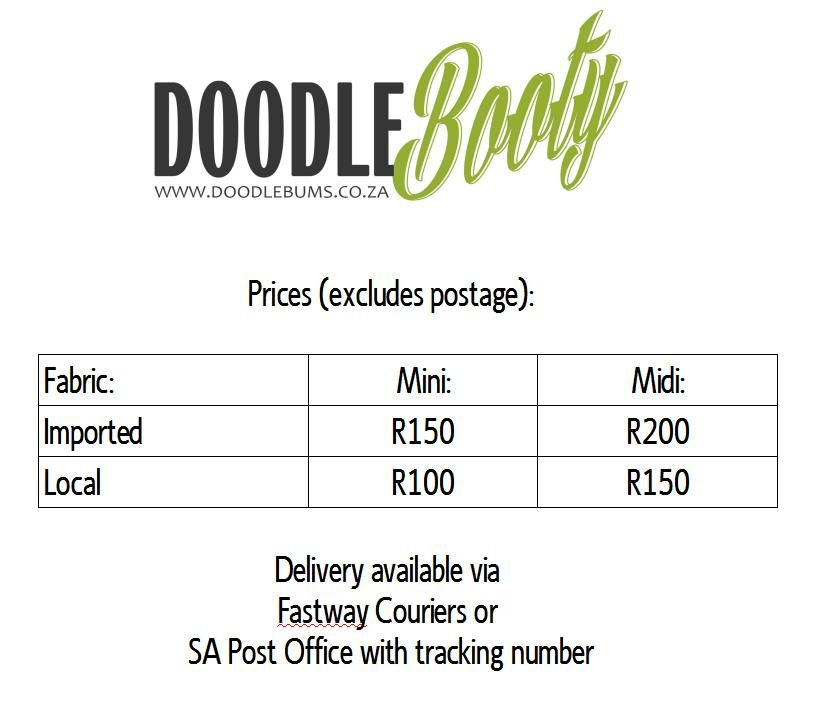 Prices for my DoodleBooty creations as at March 2015.  Located in South Africa.