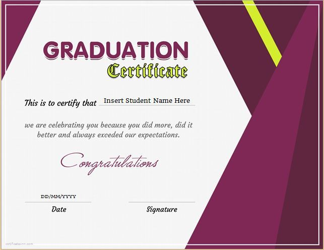 Graduation Certificate Template for MS Word DOWNLOAD at http - excellence award certificate template