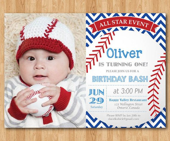Baseball Birthday Invitation First Baby Boy Chevron Invites With Custom Photo Blue Red