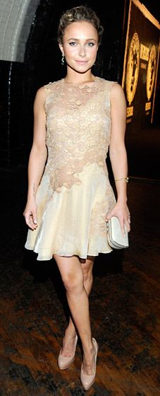 The Nashville actress looked adorable in a beige lace frock from the Versace Spring 2013 collection at the launch party in NYC on May 15.