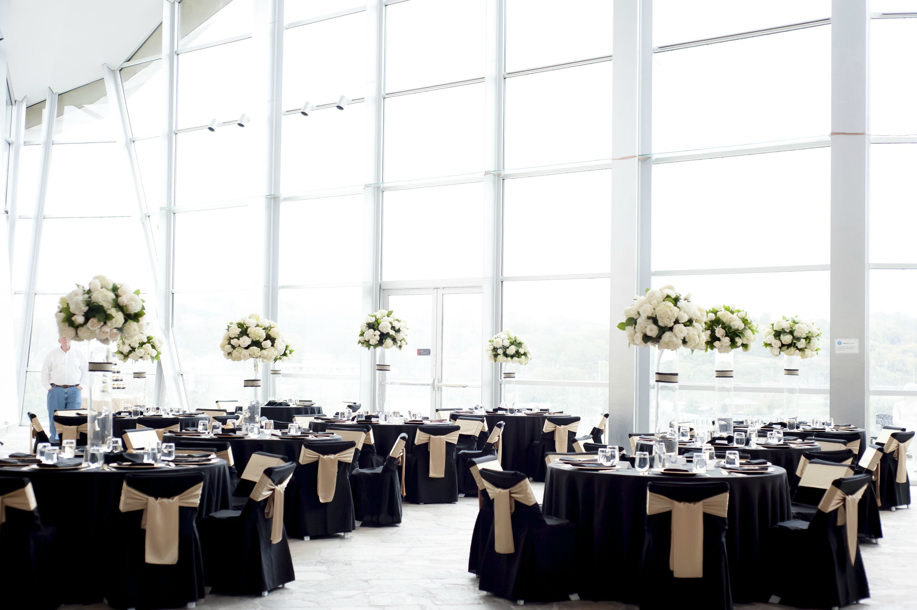 Black and Gold Wedding Reception at the Hunter Museum of American Art in Chattanooga, TN