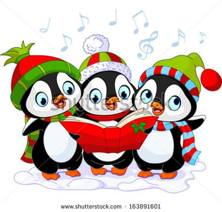 Three Cute Christmas Carolers Penguins Stock Vector 163891601 - new christmas coloring pages penguins