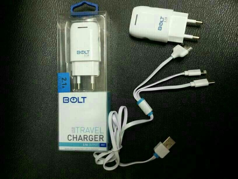 Jual Travel Charger Bolt 2 1a 3 In 1 Cable Micro Usb Iphone 5 4