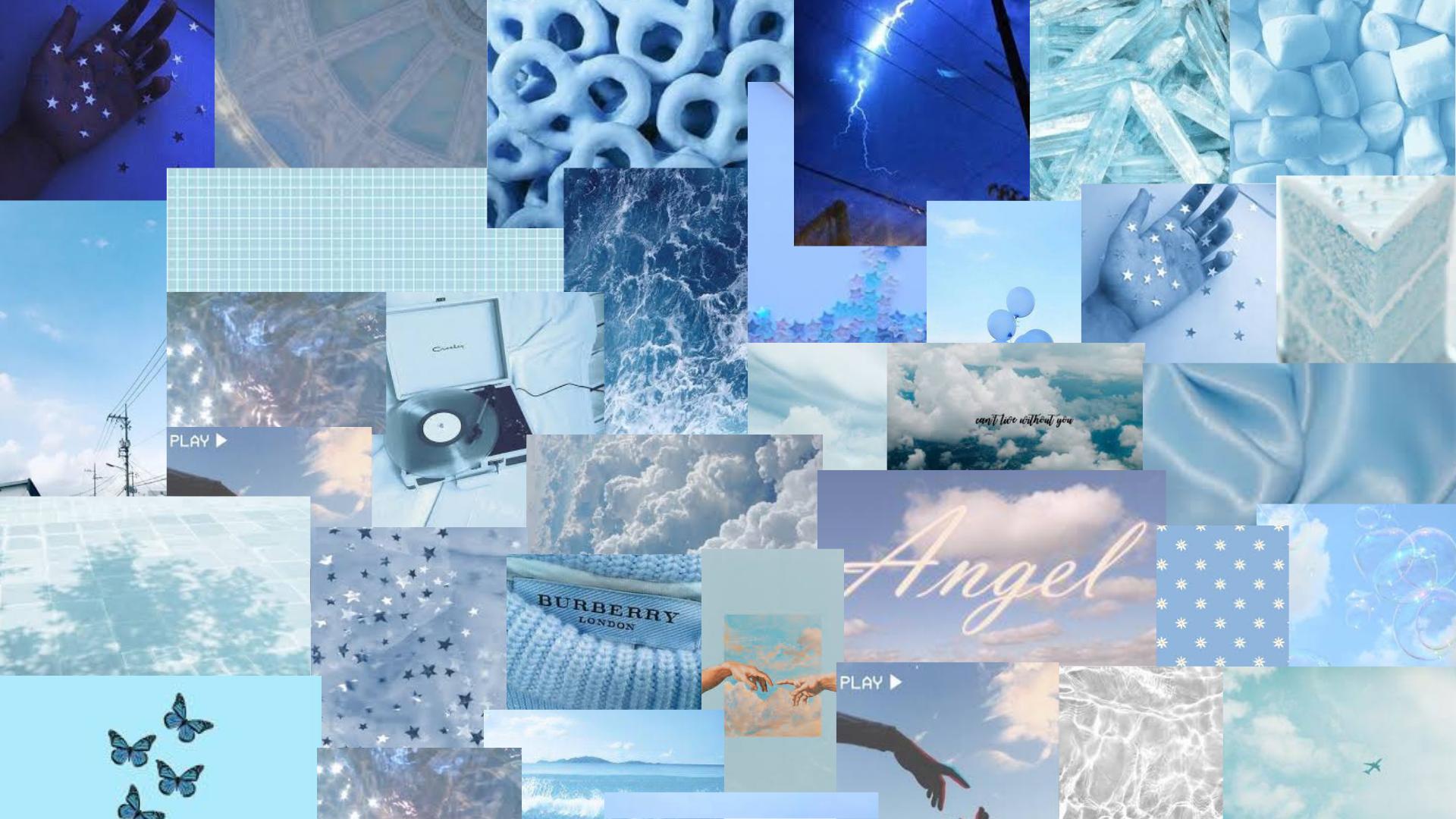 Blue Aesthetic Collage Wallpaper For Mac In 2021 Baby Blue Wallpaper Pastel Iphone Wallpaper Aesthetic Desktop Wallpaper