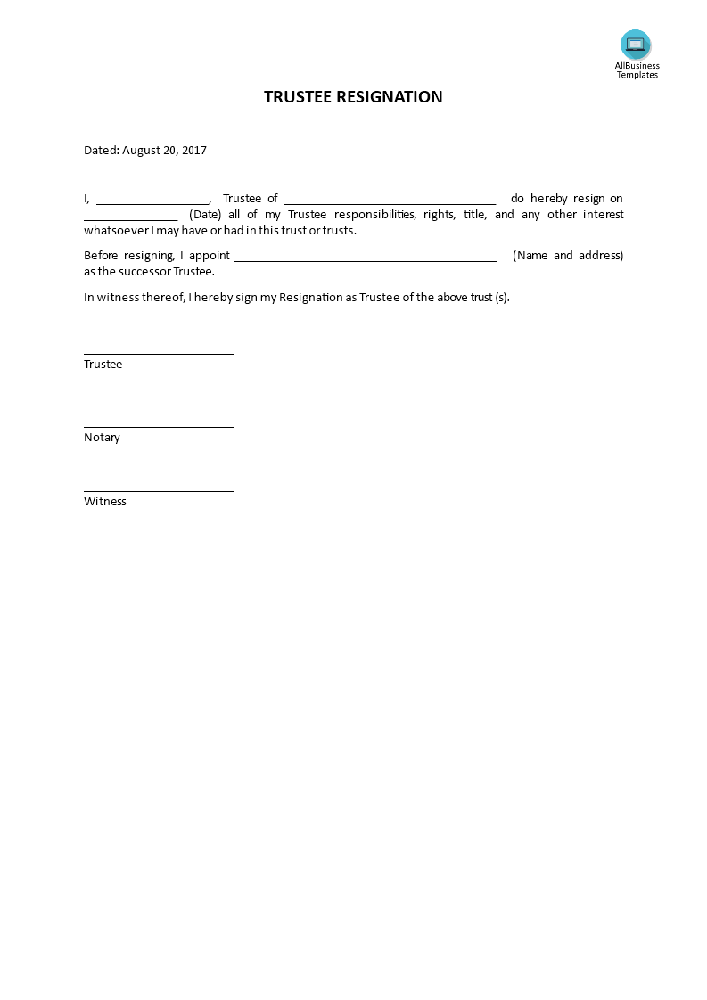 trustee resignation how to write a trustee resignation download