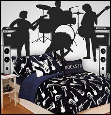 fun print features guitars on super soft micro plush. Perfect for your future rockstar musical themed room.