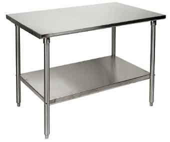 Or go super-industrial with a food service stainless steel table ...