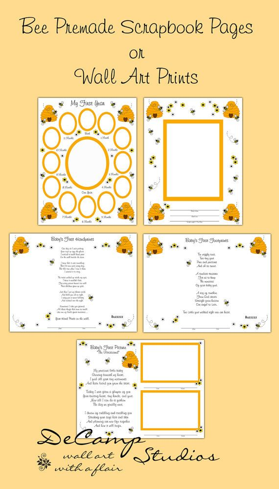 Baby\'s First Year Bumble Bee Premade Scrapbook Pages Or Wall Art ...