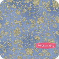 Asian Peony French Blue Metallic Floral Vine Yardage SKU# K7144-F7G