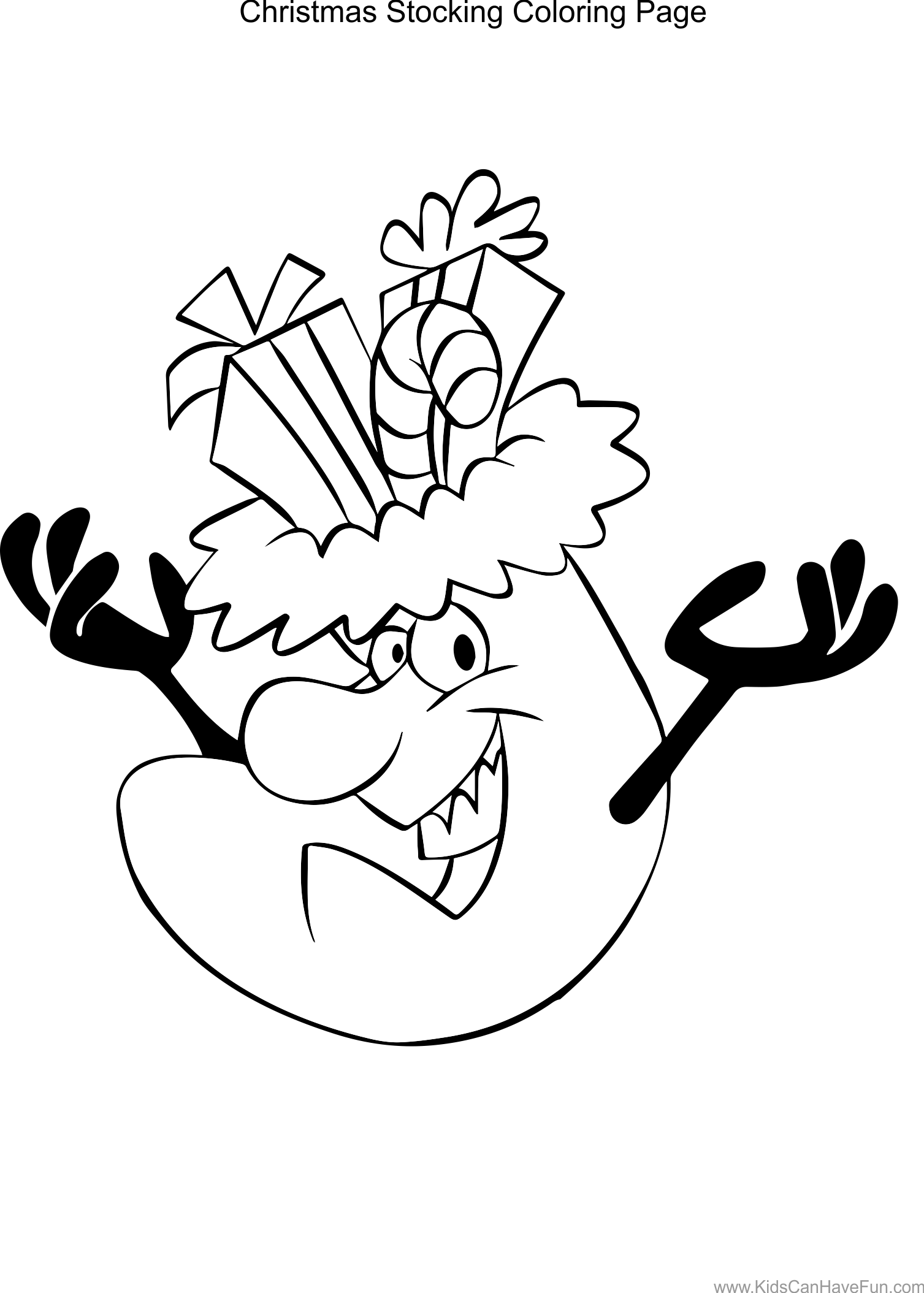 Christmas Stocking Coloring Page http://www.kidscanhavefun.com ...
