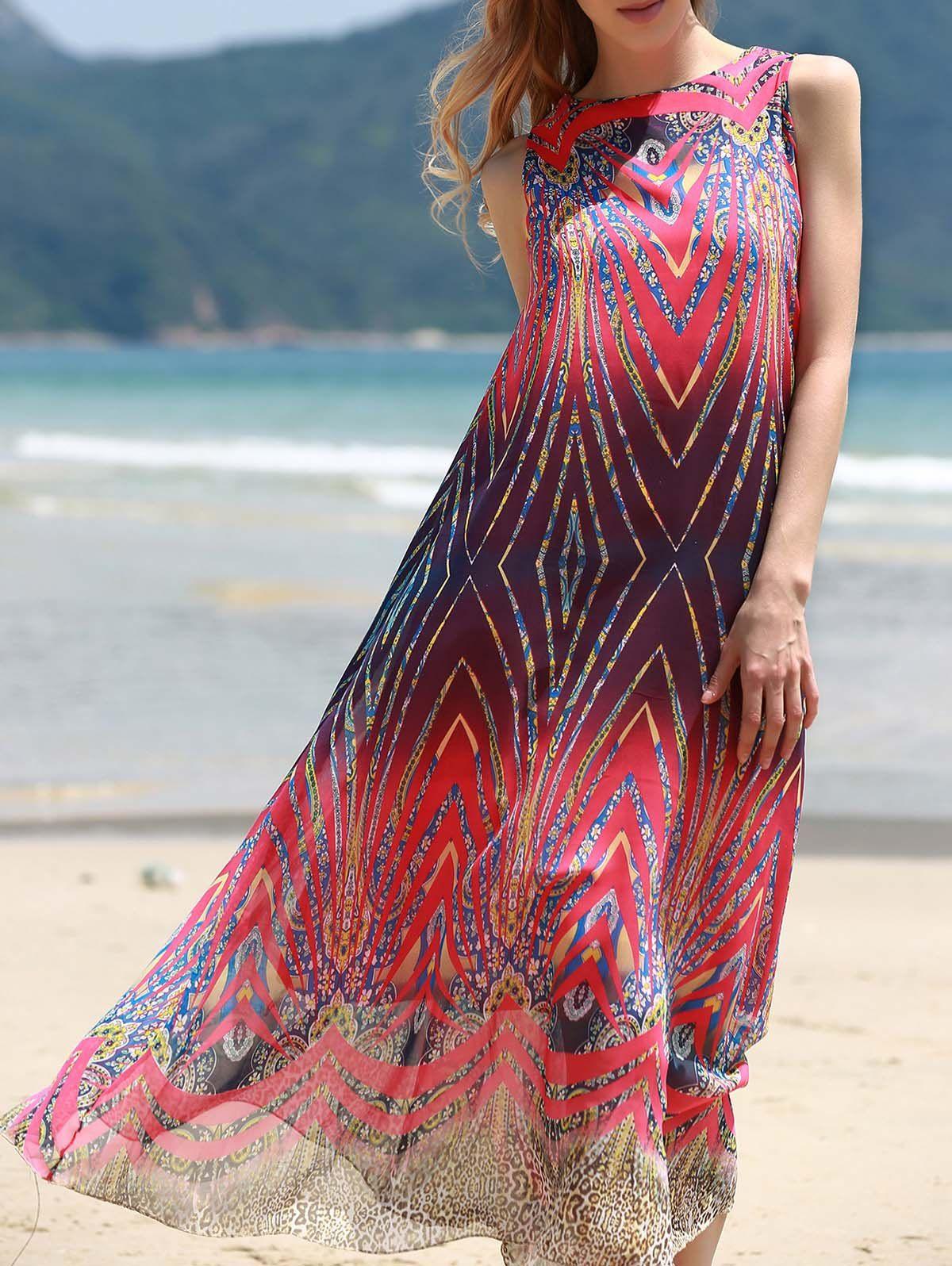 Elegant jewel neck sleeveless printed chiffon colorful dress for