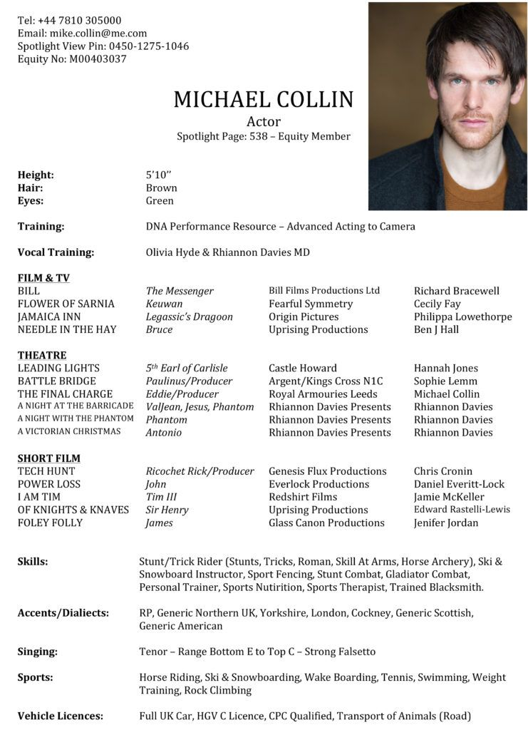 good actor resume examples