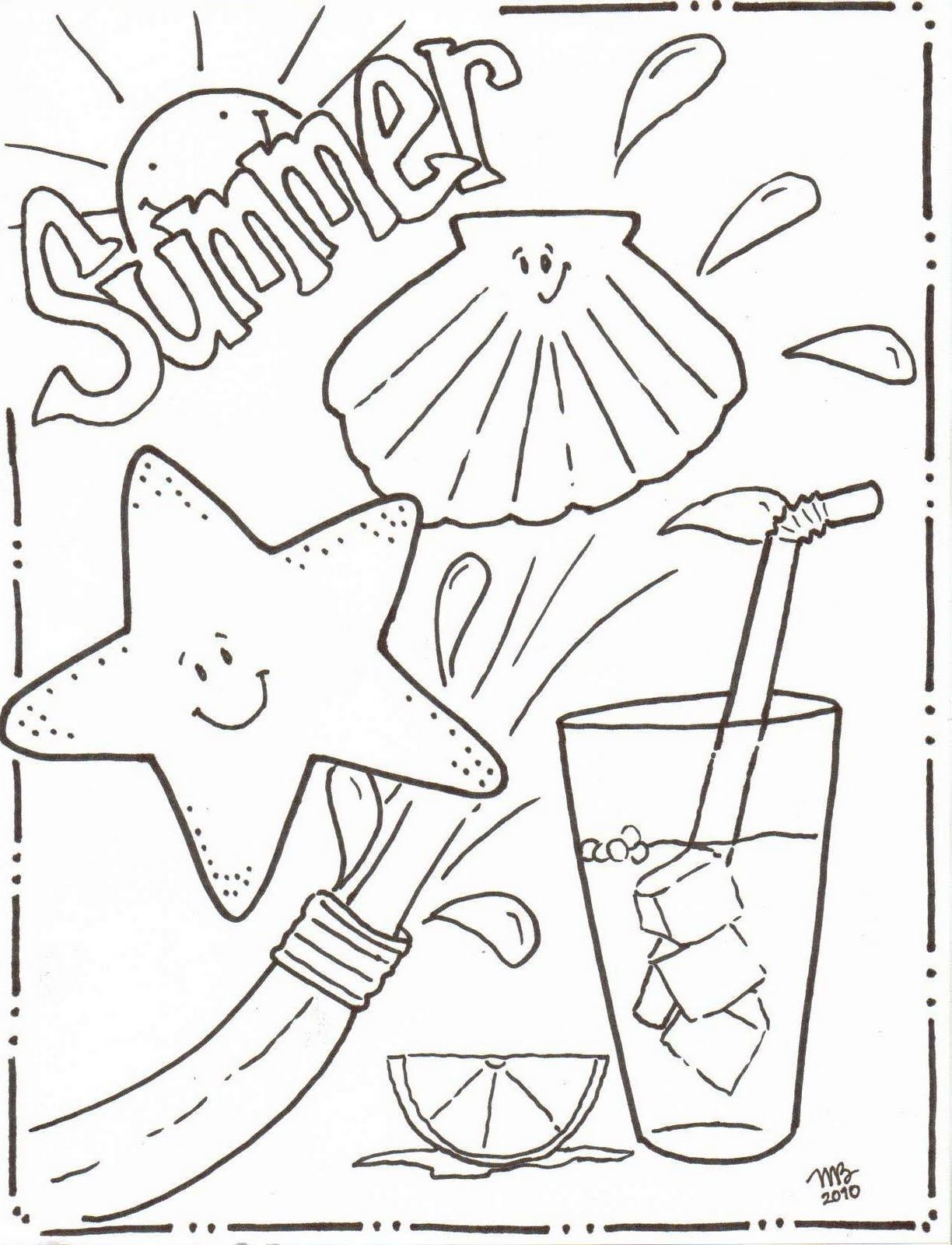 Summertime Coloring Sheets Michelle Kemper Brownlow Summer Coloring Pages Original Mkb Des Cool Coloring Pages Summer Coloring Sheets Beach Coloring Pages