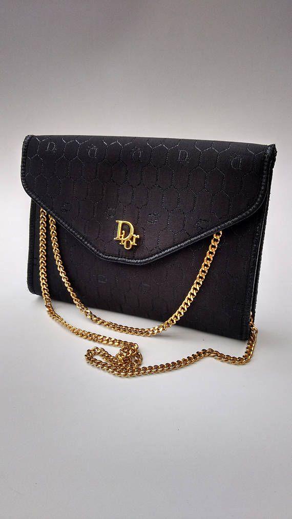 91867a2fb288 DIOR Christian Dior Vintage Black Monogrammed Shoulder