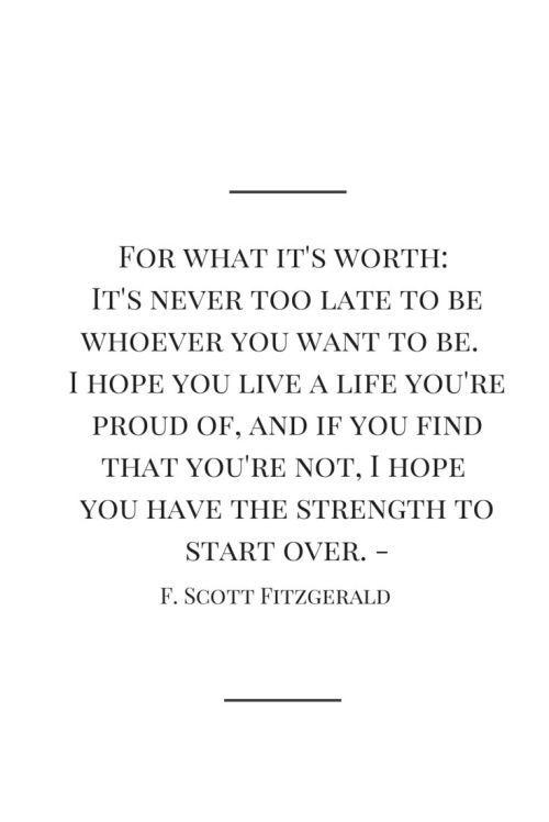 Inspirational Quotes f...F Scott Fitzgerald Quotes I Hope You Live A Life