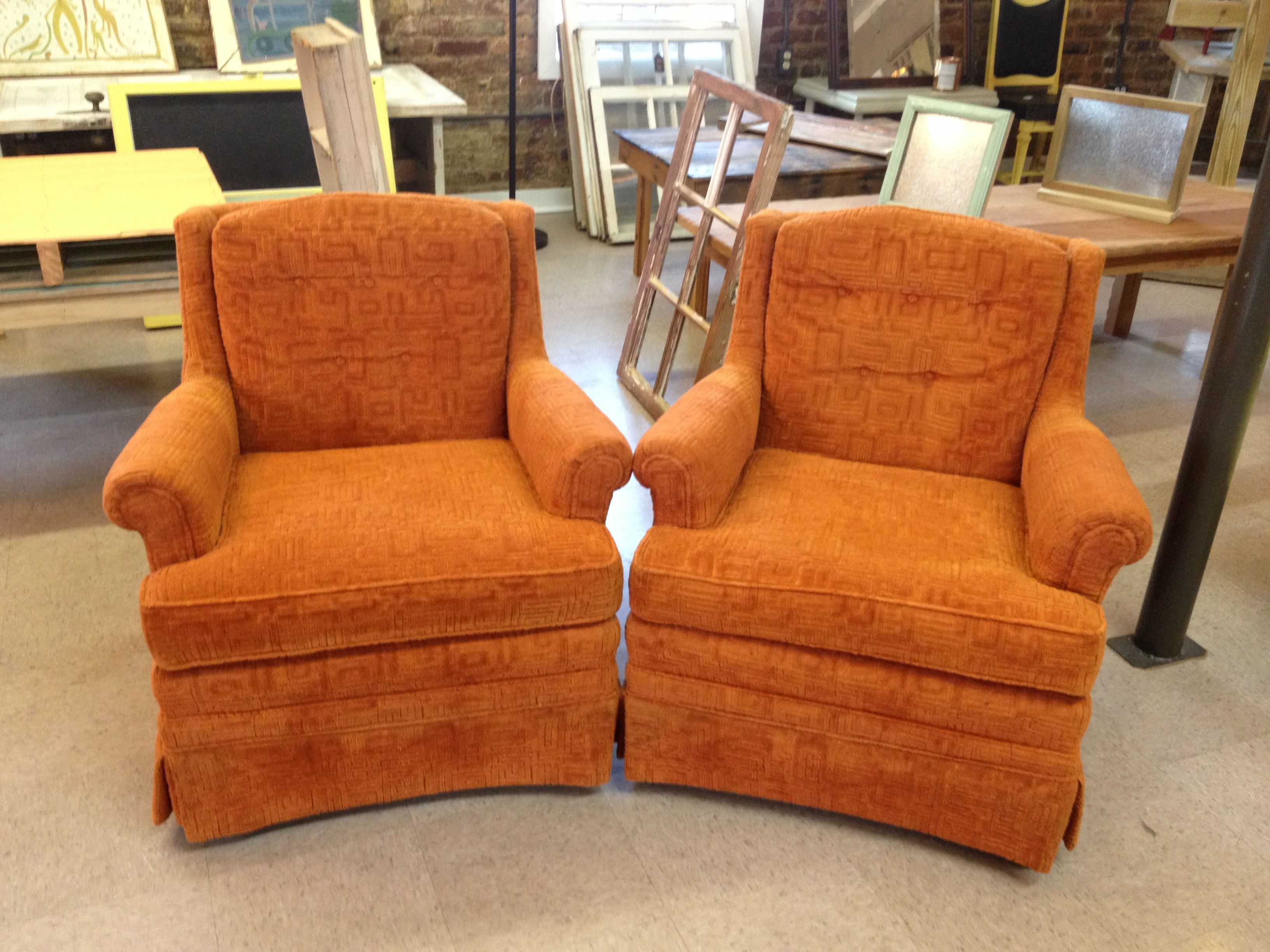 These are Vintage 60's Mid Century Modern Velvet Wingback